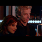 The Doctor reluctantly receives a hug from Clara